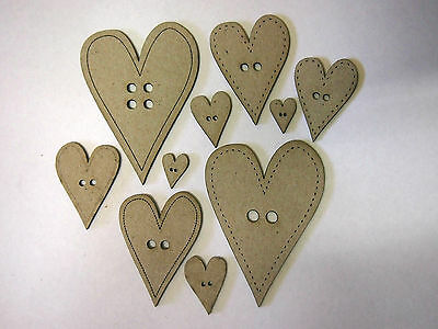 Heart Buttons / set of 10 / Scrapbooking /craft / Card making