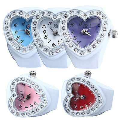 Lady Girl Silicon Heart-Shaped Elastic Quartz Finger Ring Watches Gift Groovy
