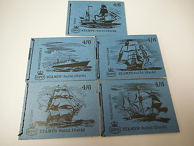 5 Pre-decimal stamp books 4 shilling and sizpence  booklet ship set 6x1d 12x4d