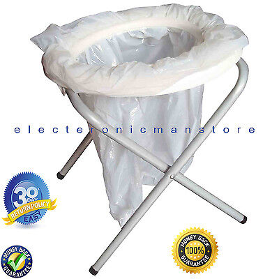 Folding Portable Toilet With 6 Disposable Bags Travel Camping Festival Park Loo