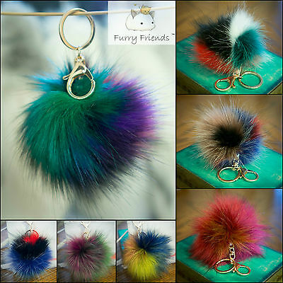 Fake Fur Ball PomPom Cell Phone Car Keychain Pendant bag Dangle Charm Key Ring