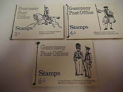 3 sewn pre-decimal Guernsey Post Office stamp books 2 4 and 6 shilling