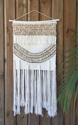 NEW Bohemian Inspired MACRAME WALL HANGING WITH BEADING AND SHELLS