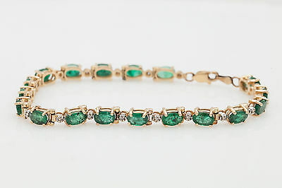 "Estate $900 12ct Emerald Diamond 18k Gold Over 7.25"" Tennis Bracelet FINE EDH"