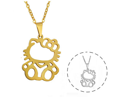 5c3f12c74 Hello Kitty Cat Kitten Silver/Gold Stainless Steel Pendant Chain Necklace