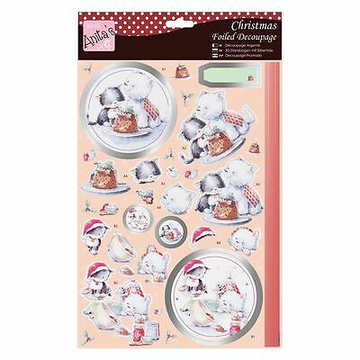 Anita's Foiled Christmas Decoupage Cat & Dog Baking  For Cards & Craft