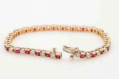 "Estate $1200 7ct Square AAA+++ Ruby Diamond 14k Gold Over Tennis 7.25"" Bracelet"