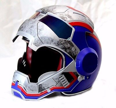 Casco Elmetto Blue Iron-Man Motorcycle Helmet Hero Abs Automic Man - Size: S-Xl