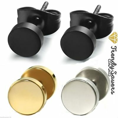 1 Pair Surgical Stainless Steel Silver Fake Ear Plug/Cheater Stud Earring