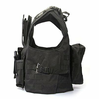 Nylon Chaqueta Chaleco Negro MOLLE Tactical Paintball Airsoft Combate