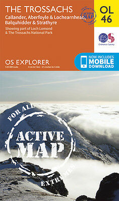 THE TROSSACHS ACTIVE Map - OL 46 - OS  Ordnance Survey - INC. MOBILE DOWNLOAD