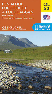 BEN ALDER, LOCH ERICHT Map - OL 50 - OS - Ordnance Survey  INC. MOBILE DOWNLOAD
