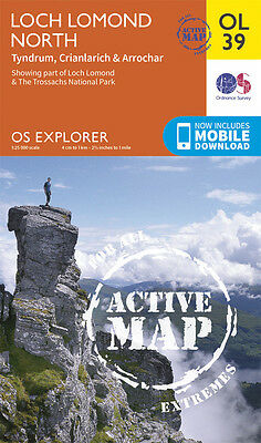 LOCH LOMOND NORTH ACTIVE Map - OL 39 - OS  Ordnance Survey -INC. MOBILE DOWNLOAD