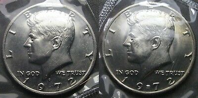 1972 P D Kennedy Half Dollar Coin Set 2 Brilliant Uncirculated Mint Set Coin's