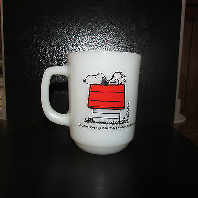 "Vintage Fire King Snoopy ""i Think I'm Allergic To Morning"" Coffee Mug"