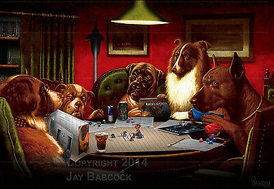 Dogs Playing D&D (5th edition D&D version) full color poster