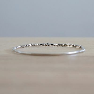 Brand New 925 Sterling Silver Beads Bracelet with Charm Elastic