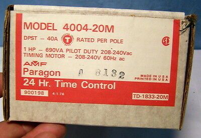 ** AMF - PARAGON - Heavy Duty 24 Hour TIMER -- Model 4004-20M * New in BOX