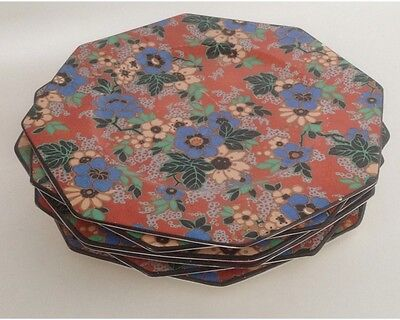 Set of 6 Royal Staffordshire Pottery Wilkinsons Octagonal Floral Chintz Plates