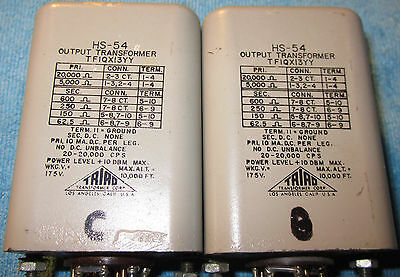 TRIAD HS-54 Date MatchedPair Plate to Line Output/Matching Transformers FreeShip