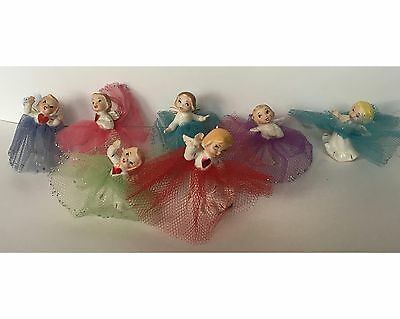 7 Pieces Vintage Christmas 1950s Japan Ceramic Angels w/ Netting Skirts Mica