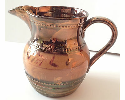 Early to Mid 19thC Copper & Pink Luster Pitcher Jug