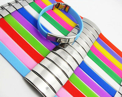12x mix color Stainless Steel Silicone Bracelets Wristbands Wholesale Jewelry