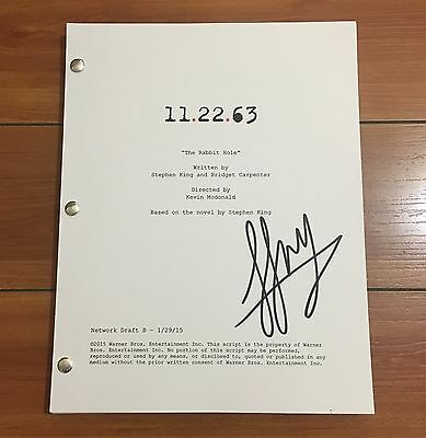 """LUCY FRY SIGNED 11.22.63 FULL PILOT SCRIPT """"THE RABBIT HOLE"""" w/EXACT PROOF"""