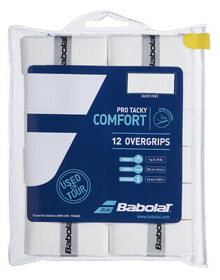 Babolat Pro Tacky White Overgrips - Pack of 12 - 0.6mm - Free UK P&P