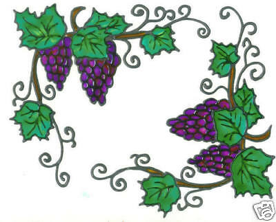 2 faux stained glass grape corner window clings