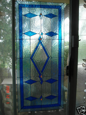 "faux stained glass  blue diamond window cling 29"" high by 14"" wide"