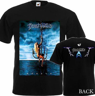 New T-Shirt ''Great White By Hard Rock Band Hooked'' Dtg Printed Tee-S:6Xl