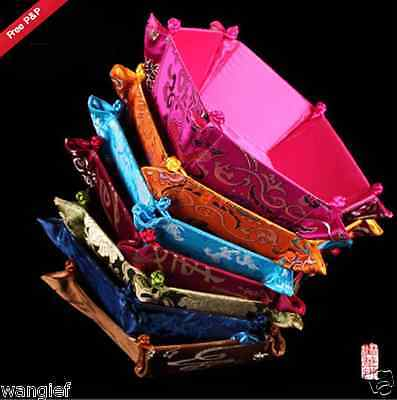 Wholesale 6pcs Fahion Chinese Handmade Vintage Folding Silk Boxes /Candy Basket