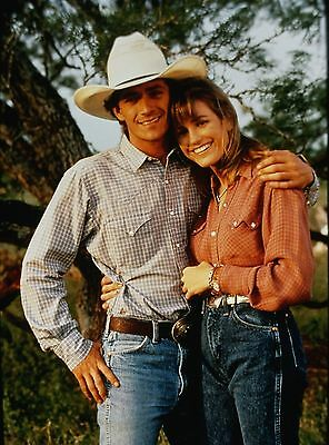"""LUKE PERRY & CYNTHIA GEARY in """"8 Seconds"""" - Original 35mm COLOR Slide - 1994"""