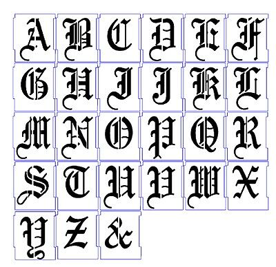 ALPHABET STENCILS AIRBRUSH STENCILS LETTER TEMPLATES 100mm 4'' OLD ENGLISH  A-Z
