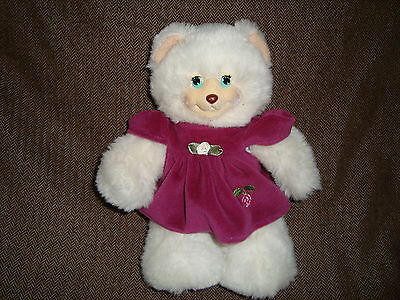 "Fisher Price Briarberry Bear Berrybeth in velour dress Plush 9.5"" tall 1998"