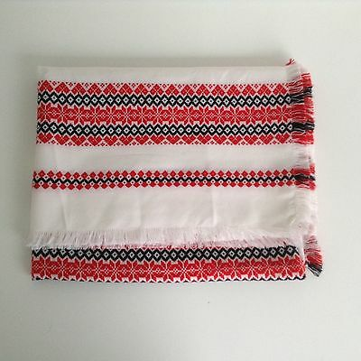 Vintage Hungarian Hungary Huck Weave Table Cloth Red Black White