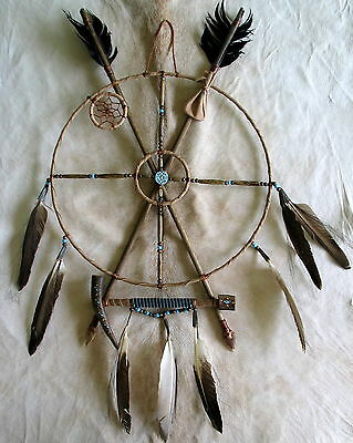 New Native American Navajo Hand-Crafted Mandala Medicine Wheel Dreamcatcher 2