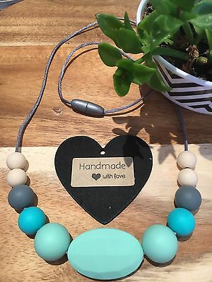 Silicone Sensory Necklace for Mum (was teething) Baby Gift Beads Aus Sell Mint