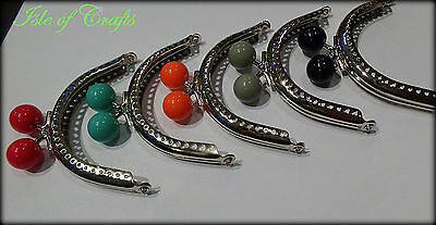 1 x Purse Bag Kiss Clasp Lock Metal Arch Frame silver Tone. Mixed Ball colours