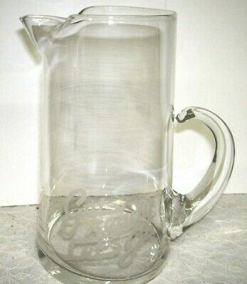 """John Deere Etched Clear Glass Pitcher Get Ready Let's Go 8"""" H"""