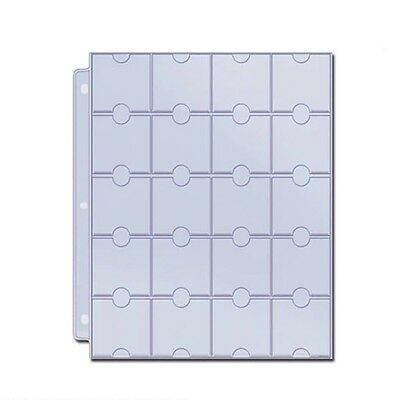 """20 POCKET COIN PAGES SUIT 2"""" x 2"""" HOLDERS. pack of 10 sheets."""