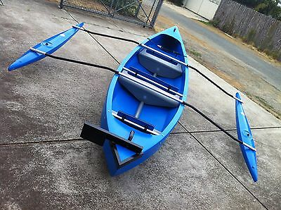 REFLECTION CANOE - BLUE - Double Outriggers - Outboard Bracket - Wheels
