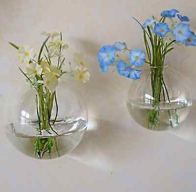 Wall Hanging Clear Glass Vase Flower Plant Hydroponics Bottle Container Pot US