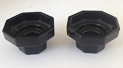 Estate Find- Vintage Pair Small Black French Glass Candle Holders
