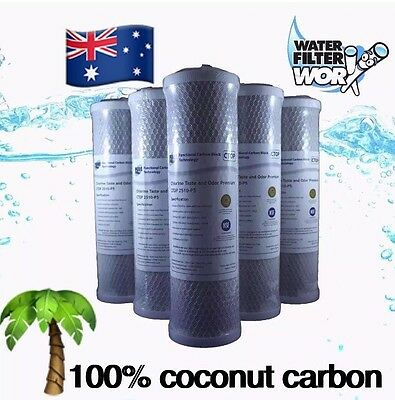 """0.5 Micon Water Filter 5 Pack 100% Coconut Carbon 10"""" X 2.5"""" Under Sink ✅"""