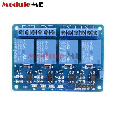 4 Four Channel Relay Module DC 5V + Optocoupler For Arduino PIC ARM AVR UK