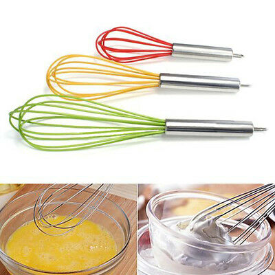 Silicone Whisk Balloon Wire Egg Beater Mixer Stainless Steel Handle Kitchen Tool