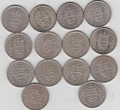14 x ENGLISH SHILLINGS COMPLETE SET FROM 1953-66 IN HIGH GRADE