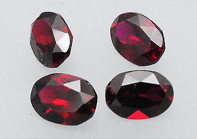 Synthetic Ruby / Corundum Dark Red Oval 7x5 Loose Gemstone Pack of 4